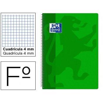 Cuaderno espiral oxford school classic tapa polipropileno folio 80 hojas cuadro 4 mm con margen verde