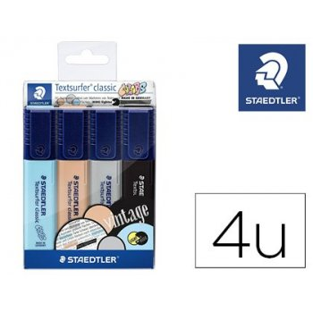 Rotulador textsurfer classic 364 pastel & vintage bolsa de 4 unidades colores surtidos