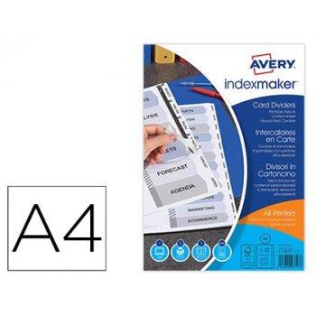 Separador avery de papel blanco con 12 pestañas de indice personalizable ink-jet laser tamaño din a4