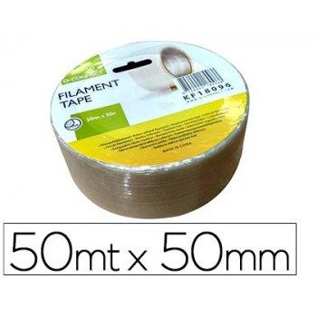 Cinta adhesiva q-connect monofilamentos transparente 50 mt x 50 mm para embalaje