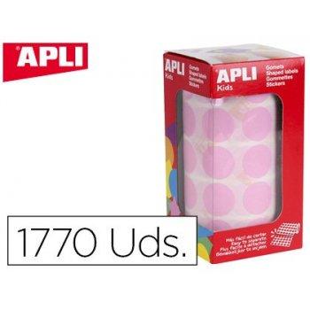 Gomets apli autoadhesivo circulares 20 mm rosa rollo con 1770 unidades