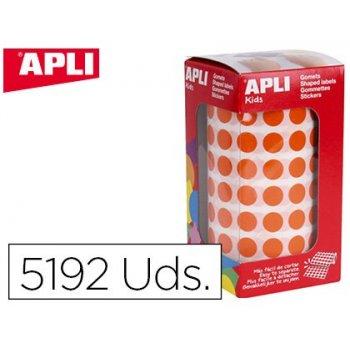 Gomets apli autoadhesivo circulares 10,5 mm naranja rollo con 5192 unidades