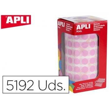 Gomets apli autoadhesivo circulares 10,5 mm rosa rollo con 5192 unidades