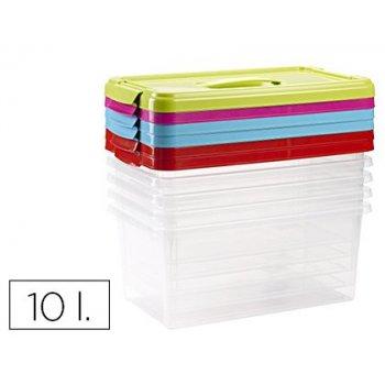 Caja multiusos plastico 10 l n 24 tapa de color con asa 385x230x175 mm