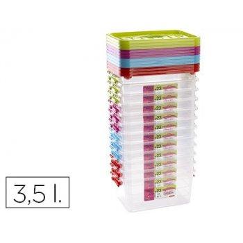Caja multiusos plastico 3,5 l n 23 tapa de color con asa 280x185x125 mm