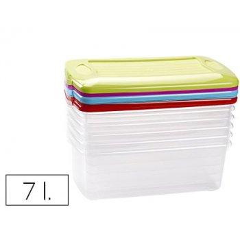 Caja multiusos plastico 7 l pequeña con tapa de color 375x210x120 mm