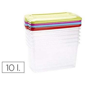 Caja multiusos plastico 10 l grande con tapa de color 375x210x185 mm