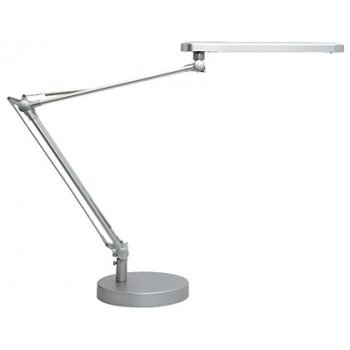 Lampara de escritorio unilux mambo led 5,6w doble brazo articulado abs y aluminio gris metalizado base 19 cm