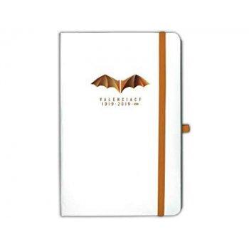 Cuaderno con gomilla tapa polipiel blanca a5 80 hojas 80 gr liso ahuesado valencia cf centenario 1919-2019