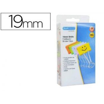 Pinza metalica rapesco reversible 19 mm sonrisas colores surtidos cajita de 80 unidades