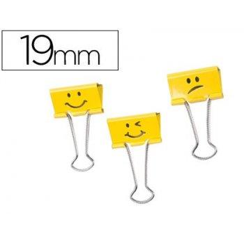Pinza metalica rapesco reversible 19 mm emojis amarillo cajita de 20 unidades