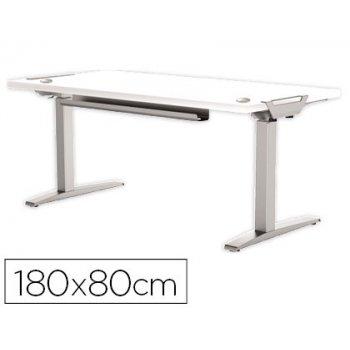 Mesa de oficina levado base metal acero pintado sistema electrico regulable altura tablero blanco 180 x 80 cm