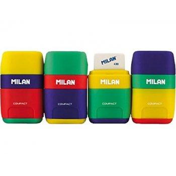Sacapuntas milan plastico 2 usos con goma compact mix