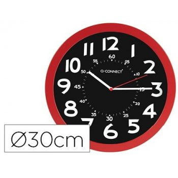 Reloj q-connect de pared plastico oficina redondo 30 cm color rojo y esfera color negro