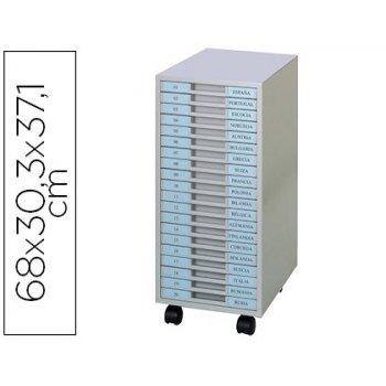 Archivador metalico clen 20 bandejas plastico de 2,5 cm de altura con ruedas color gris claro 680x303x371 mm