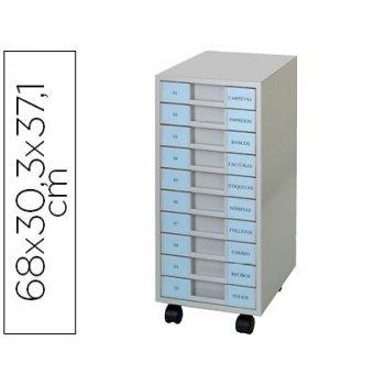 Archivador metalico clen 10 bandejas plastico de 5,5 cm de altura con ruedas color gris claro 680x303x371 mm