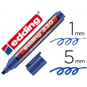 Rotulador edding marcador permanente 330 azul punta biselada 1-5 mm recargable