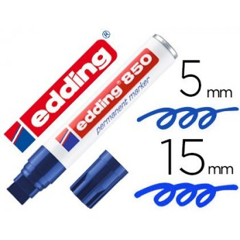 Rotulador edding marcador permanente 850 azul punta biselada 5-15 mm recargable