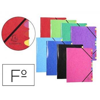 Carpeta clasificadora exacompta iderama 12 departamentos folio gomas carton forrado colores