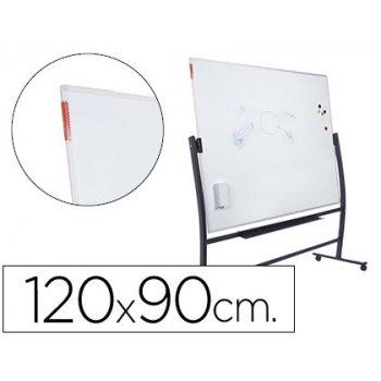 Pizarra blanca rocada vitrificada magnetica con soporte volteable doble cara 90x120 cm