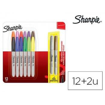 Rotuladores sharpie permanente punta fina blister de 12 unidades colores surtidos + 2 unidades color