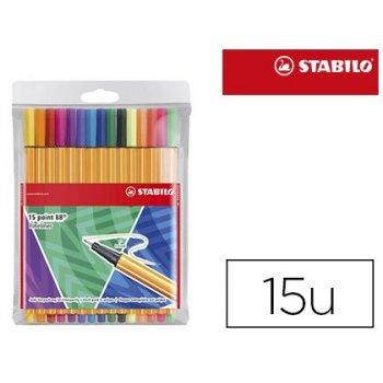 Rotulador stabilo punta de fibra point 88 like you estuche de 15 unidades colores surtidos incluye 5