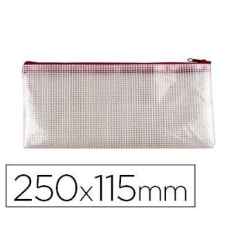 Bolsa multiusos q-connect malla cheque 250x115 mm apertura superior con cremallera rojo