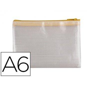 Bolsa multiusos q-connect malla din a6 apertura superior con cremallera amarillo