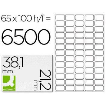 Etiqueta adhesiva q-connect kf15386 tamaño 38,1x21,2 mm fotocopiadora laser ink-jet caja con 100 hojas din a4