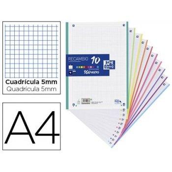 Recambio color oxford din a4 160 hojas 90 gr optik paper cuadro 5 mm 4 taladros banda 10 colores