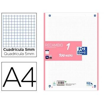 Recambio color oxford din a4 100 hojas 90 gr cuadro 5 mm 4 taladros rosa chicle