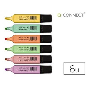 Rotulador q-connect fluorescente pastel punta biselada estuche de 6 unidades colores surtidos