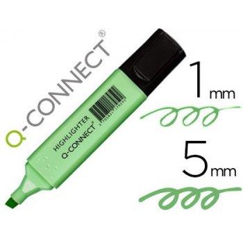 Rotulador q-connect fluorescente pastel verde punta biselada