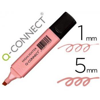 Rotulador q-connect fluorescente pastel rosa punta biselada