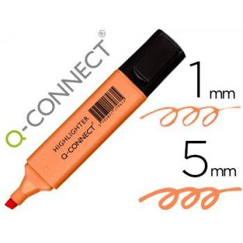 Rotulador q-connect fluorescente pastel naranja punta biselada