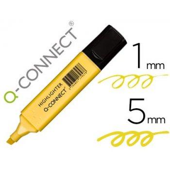 Rotulador q-connect fluorescente pastel amarillo punta biselada