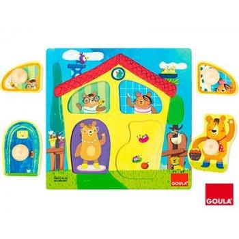 Juego goula didactico puzzle casa familia osos