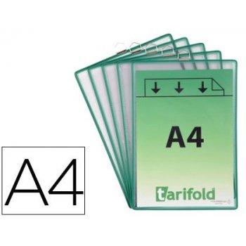 Funda para colgar tarifold din a4 pvc con anilla marco verde pack de 5 unidades