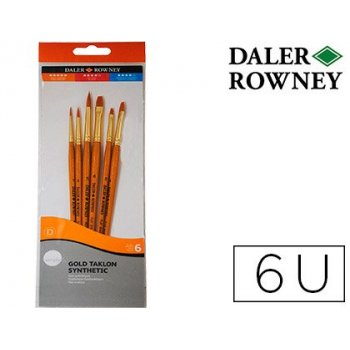 Pinceles daler rowney simply art sintentico mango corto dorado blister de 6 unidades