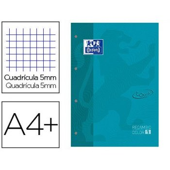 Recambio color 1 oxford din a4+ 80 hojas 90 gr cuadricula 5 mm tapa blanda 4 taladros aqua touch