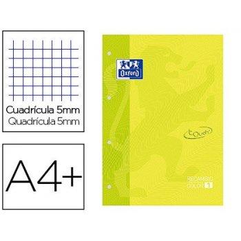 Recambio color 1 oxford din a4+ 80 hojas 90 gr cuadricula 5 mm tapa blanda 4 taladros lima touch