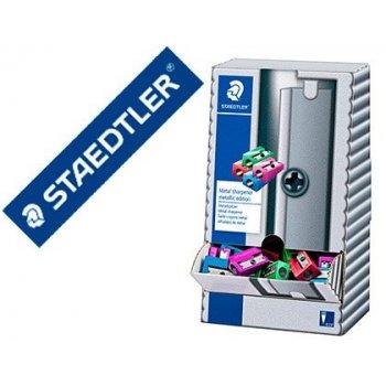 Sacapuntas staedtler metalico 1 uso expositor sobremesa 100 unidades colores metalizados surtidos