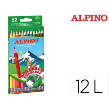 Lapices de colores alpino borrable con goma caja de 12 colores surtidos