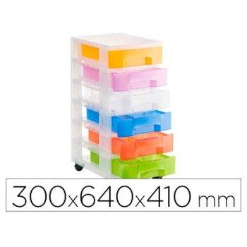 Fichero cajones de suelo archivo 2000 traslucido 6 cajones colores traslucidos surtidos con ruedas