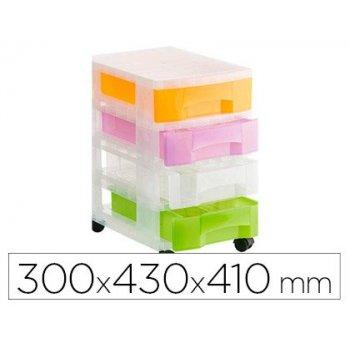 Fichero cajones de suelo archivo 2000 traslucido 4 cajones colores traslucidos surtidos con ruedas