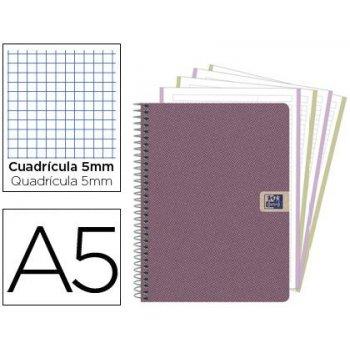 Cuaderno espiral oxford tapa extradura european book 4 nature din a5 120 hojas 90 gr cuadricula 5 mm con bandas