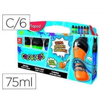 Tempera maped color peps ultra lavable caja de 6 colores surtidos secundarios 75 ml