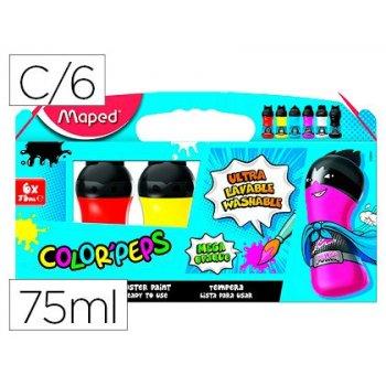 Tempera maped color peps ultra lavable caja de 6 colores surtidos primarios 75 ml