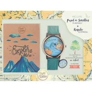 Pack ecologico vegetal watches reloj + libreta papel reciclado + papel semilla plantable + arbol plantado +