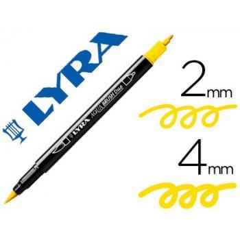 Rotulador lyra aqua brush acuarelable doble punta fina y pincel amarillo limon